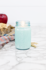Fall Harvest 16 oz blue jar candle