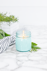 Fresh Cut Herbs 8 oz blue jar candle