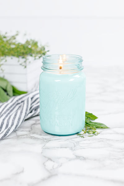 Fresh Cut Herbs 16 oz blue jar candle
