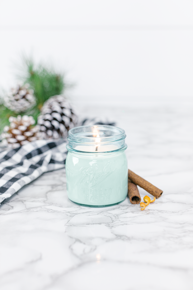 Good Tidings 8 oz blue jar candle