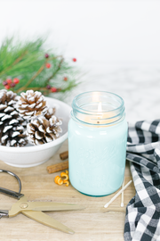 Good Tidings 16 oz blue jar candle