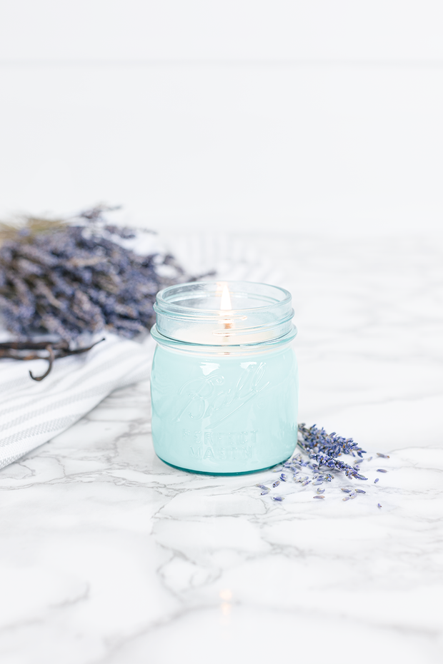 Lavender Vanilla 8 oz blue jar candle