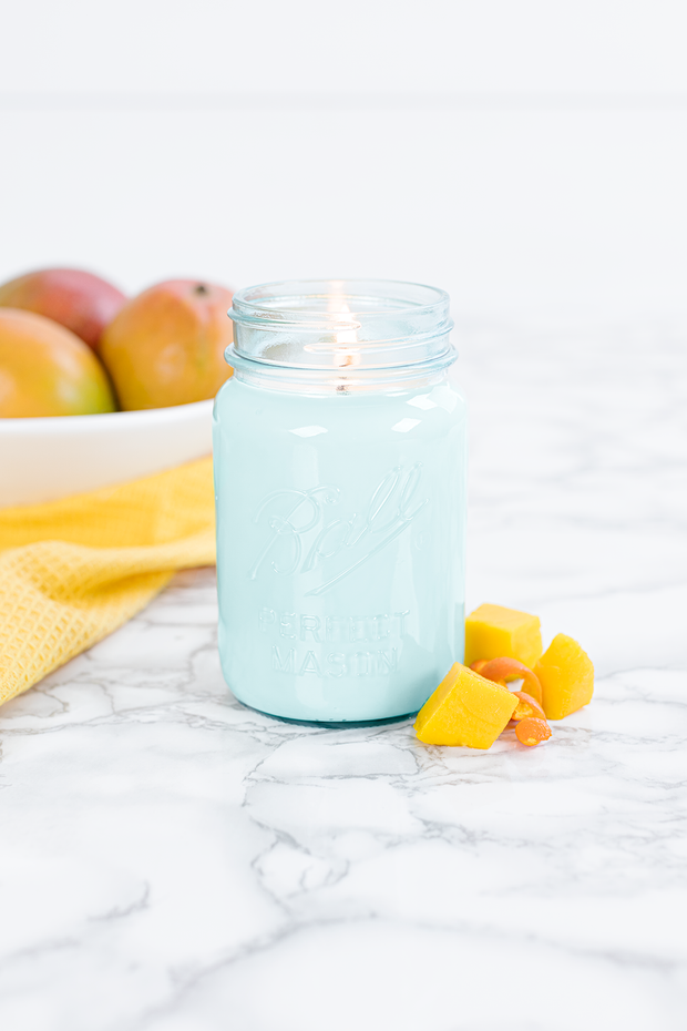 Mango Citrus 16 oz blue jar candle