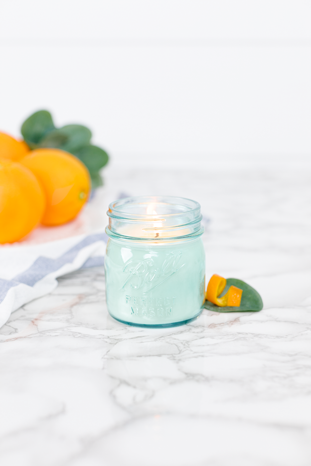 Orange Grove by Our Faux Farmhouse 8 oz blue jar candle