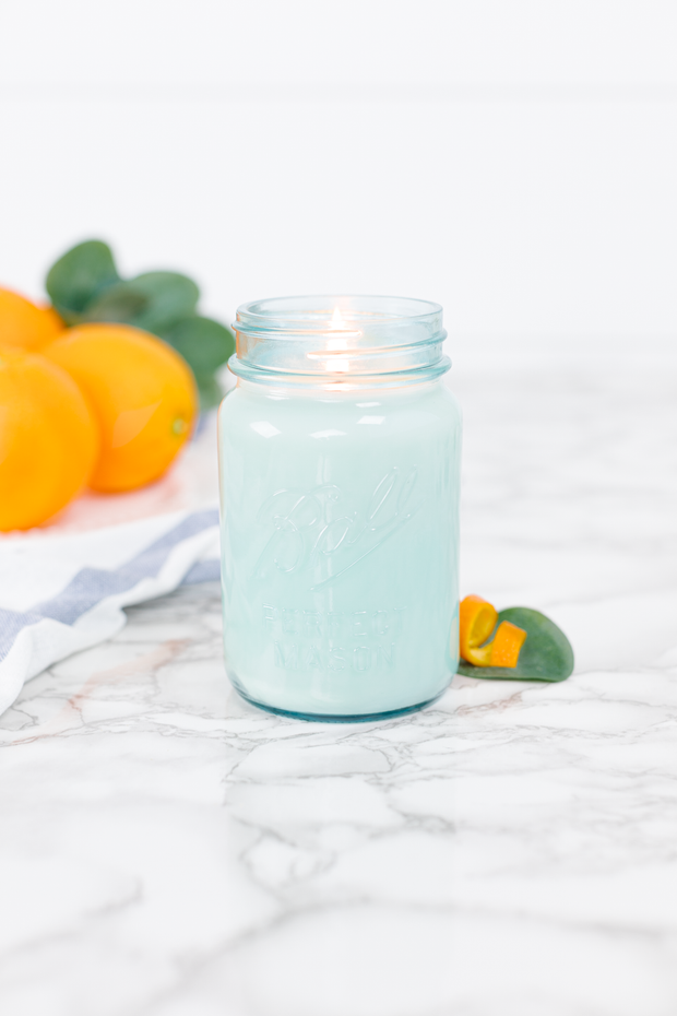 Orange Grove by Our Faux Farmhouse 16 oz blue jar candle