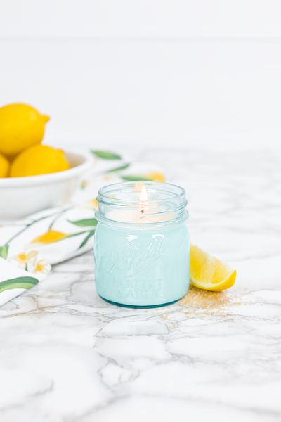 Sweet Lemon 8 oz blue jar candle