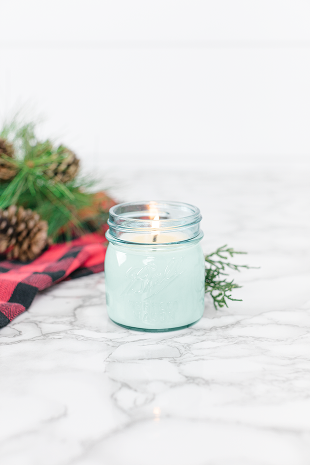 Tree Farm by Vintage Porch 8 oz blue jar candle