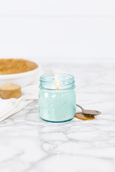 Warm Caramel Crumble by Sarah Joy 8 oz blue jar candle