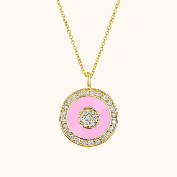 The Bond Necklace in Baby Pink, Yellow Gold