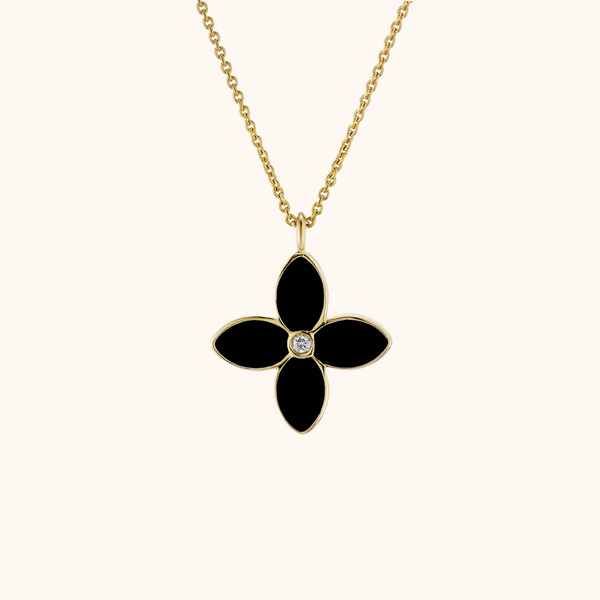 The Mulberry Necklace in Ivory White/Midnight Black, Yellow Gold