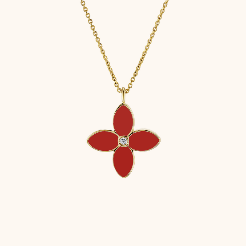 The Mulberry Necklace in Scarlet Red/Emerald Green, Yellow Gold