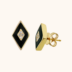 The Mercer Earrings in Midnight Black, Yellow Gold