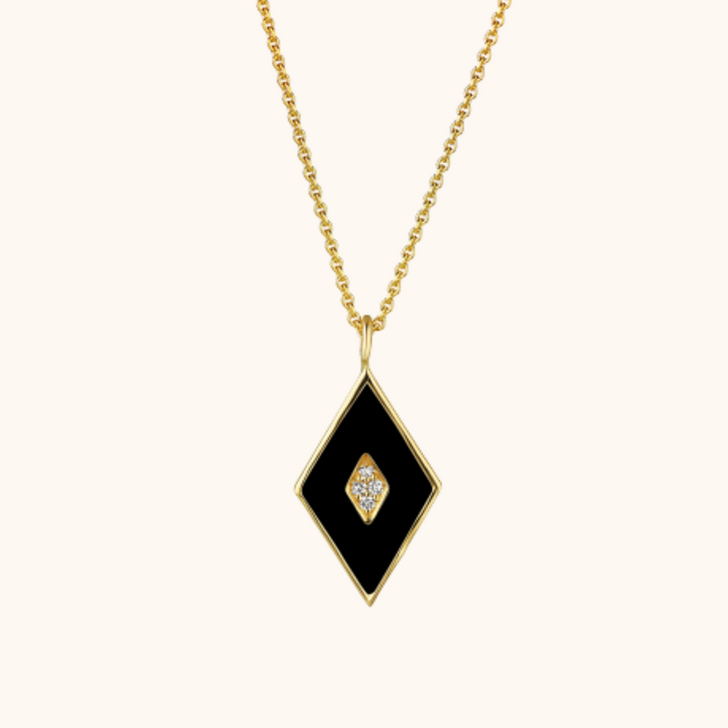 The Mercer Necklace in Midnight Black, Yellow Gold