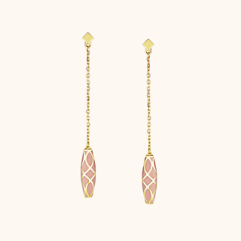 The Waverly Earrings in Blush Pink, Yellow Gold