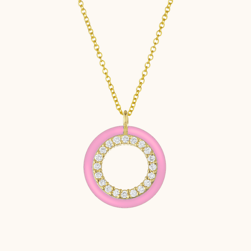 The Crosby Necklace in Baby Pink, Yellow Gold