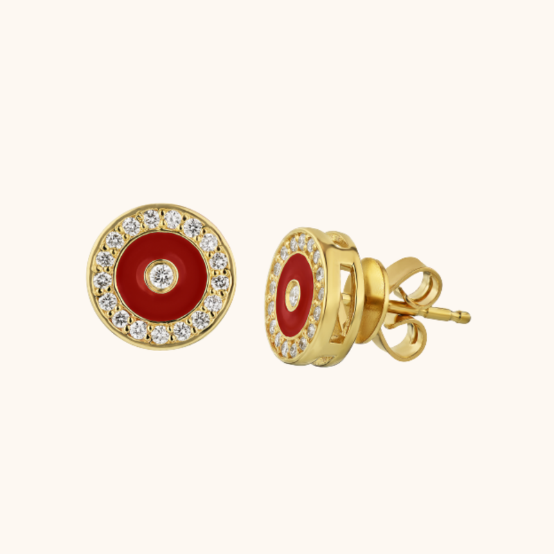 The Bond Earrings in Scarlet Red