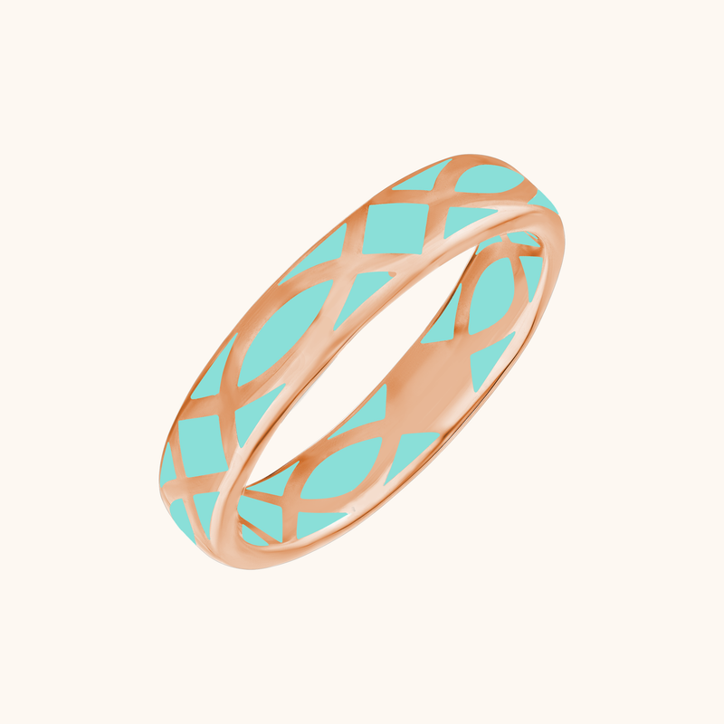 The Brooklyn Band in Aqua, Rose Gold