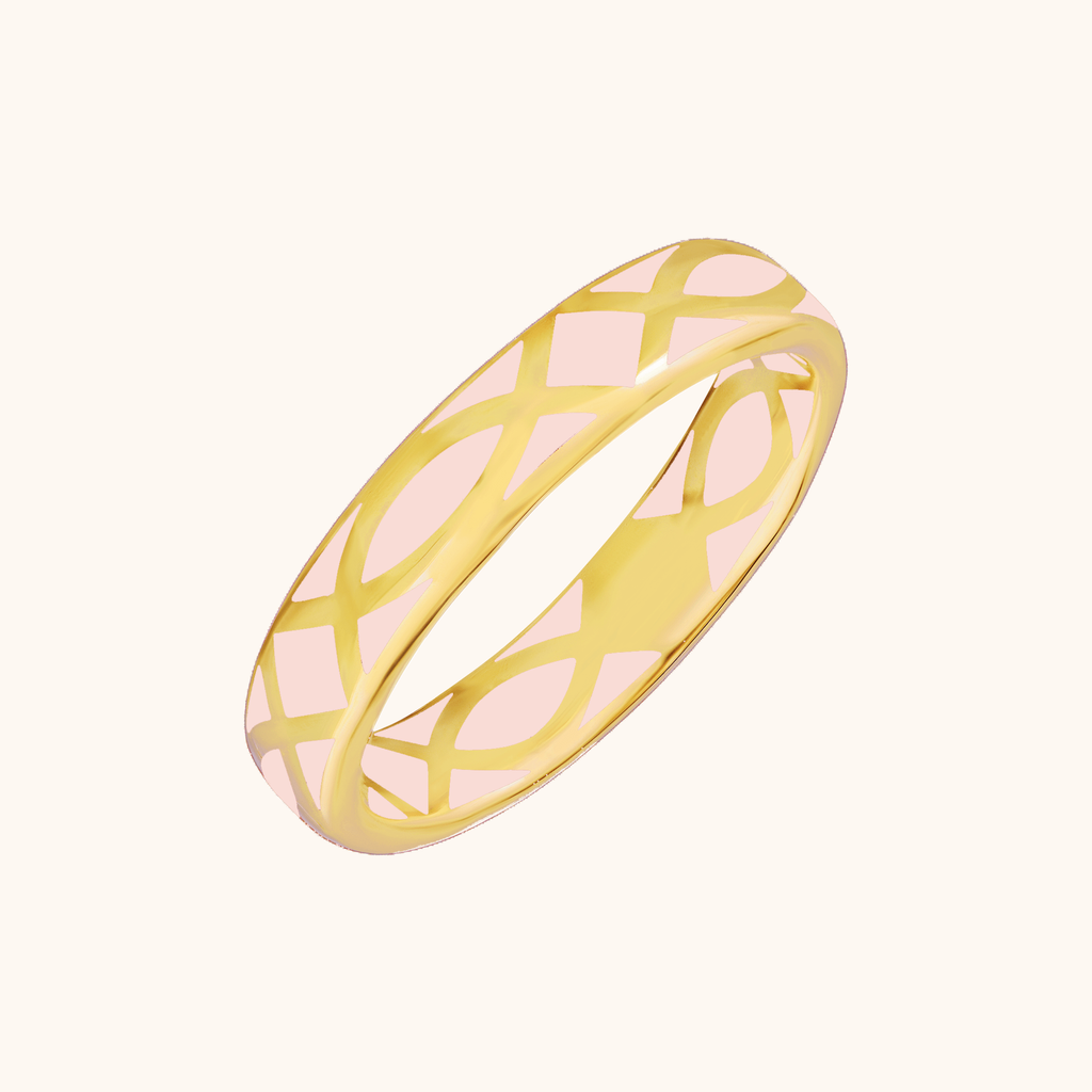 The Brooklyn Band in Blush Pink, Yellow Gold
