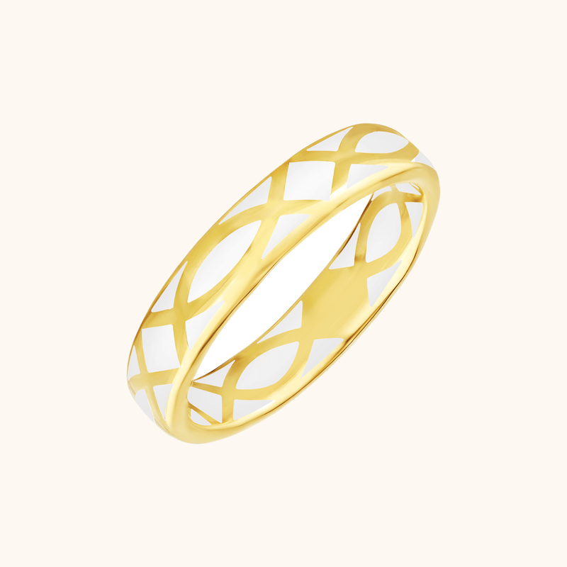 The Brooklyn Band in Ivory White, Yellow Gold