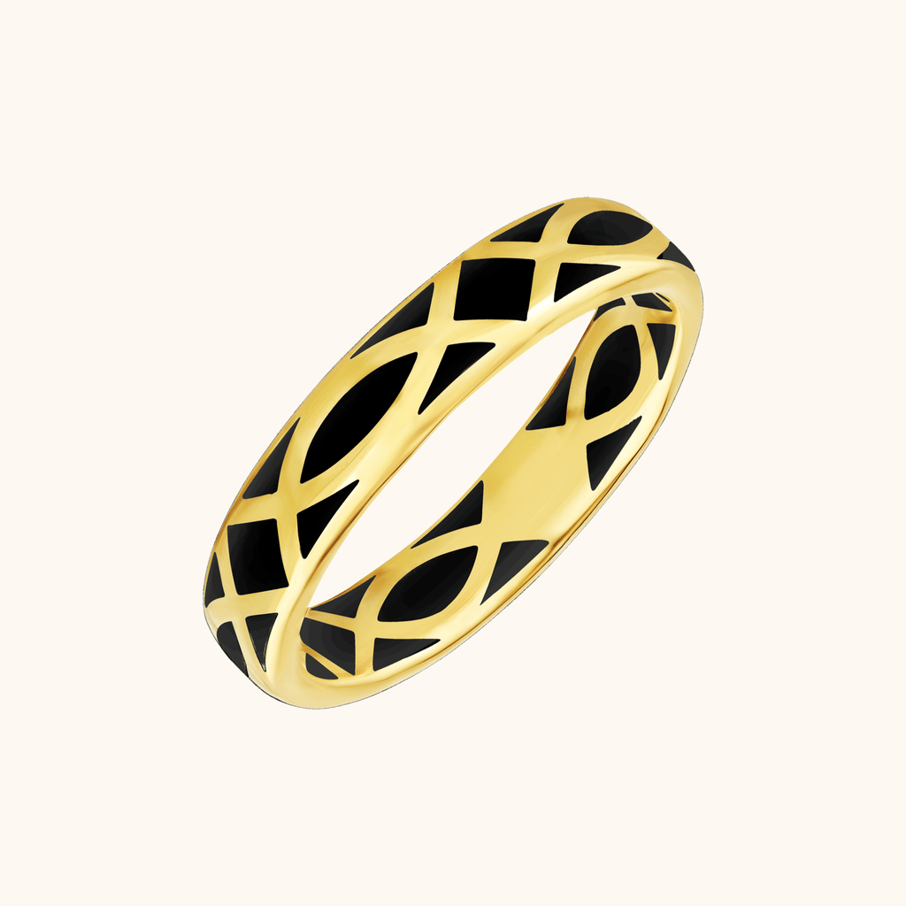 The Brooklyn Band in Midnight Black, Yellow Gold