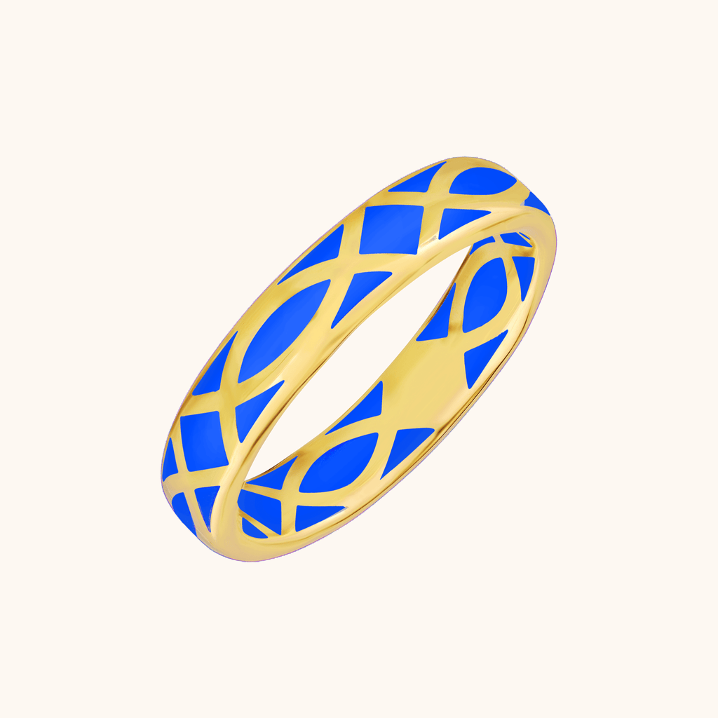 The Brooklyn Band in Royal Blue, Yellow Gold