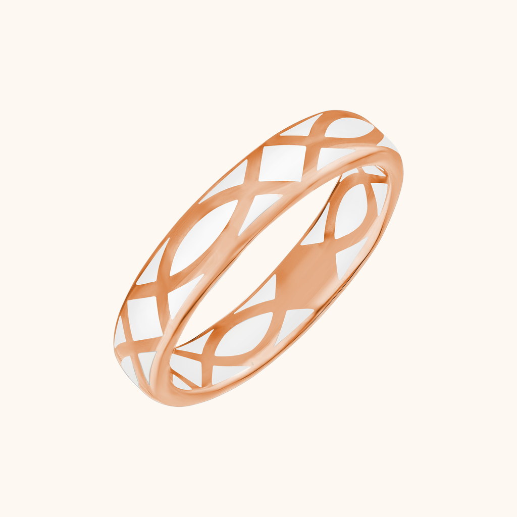 The Brooklyn Band in Ivory White, Rose Gold