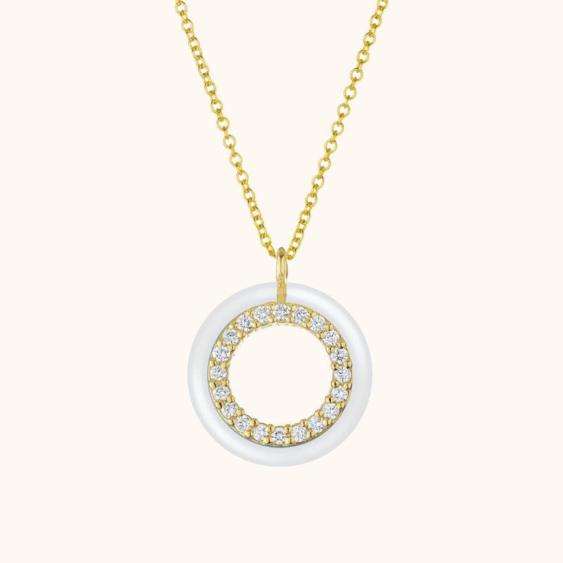 The Crosby Necklace in Ivory White, Yellow Gold
