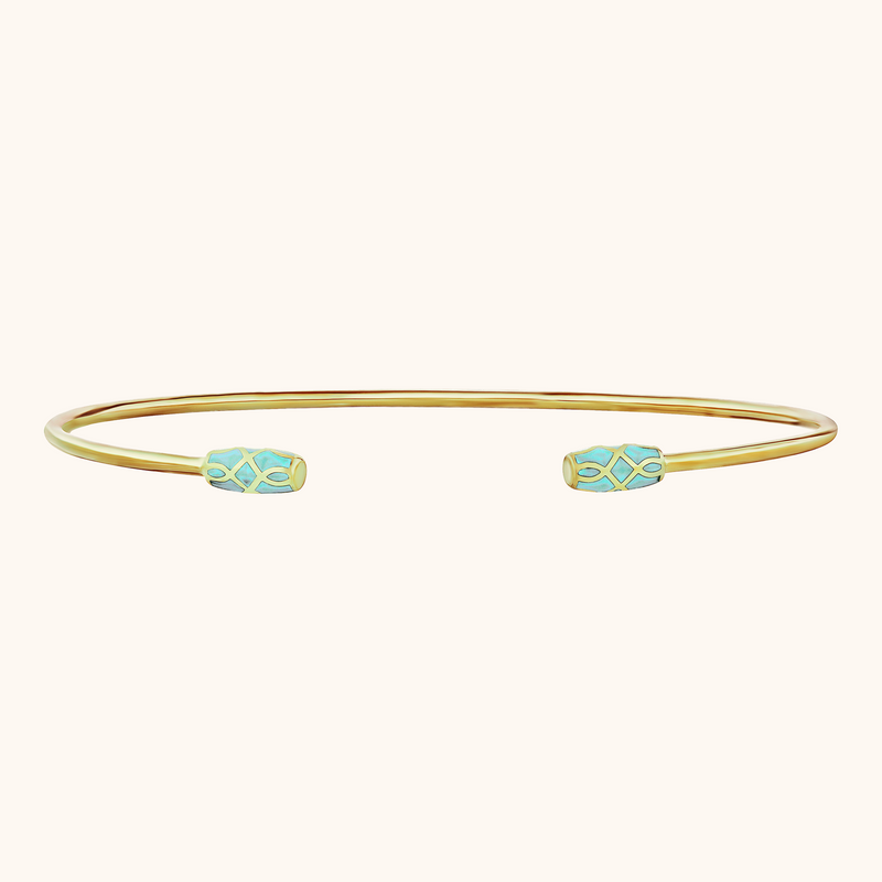 The Delancey Bracelet in Aqua in Yellow Gold