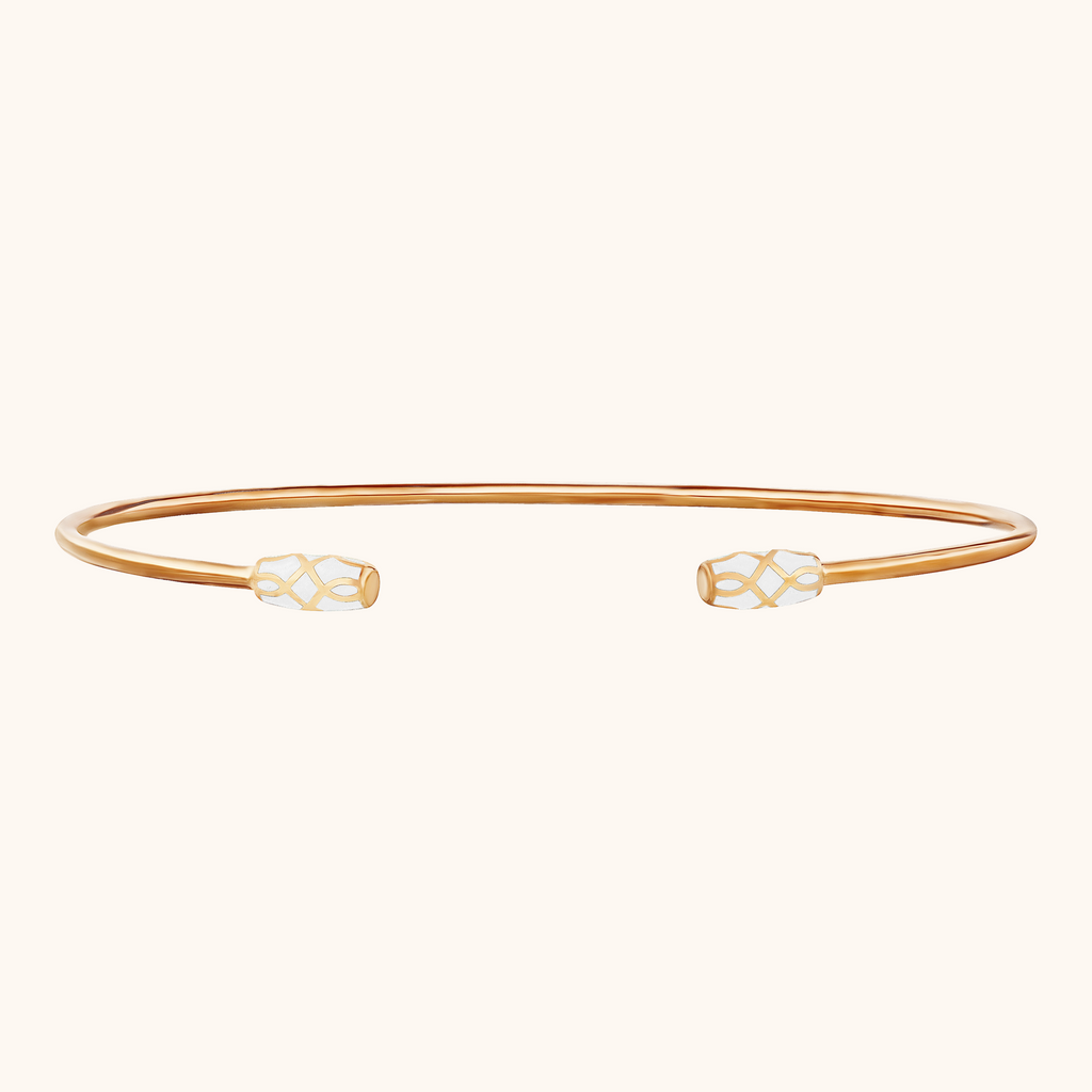 The Delancey Bracelet in Ivory White, Rose Gold