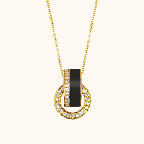 The Essex Necklace in Midnight Black, Yellow Gold