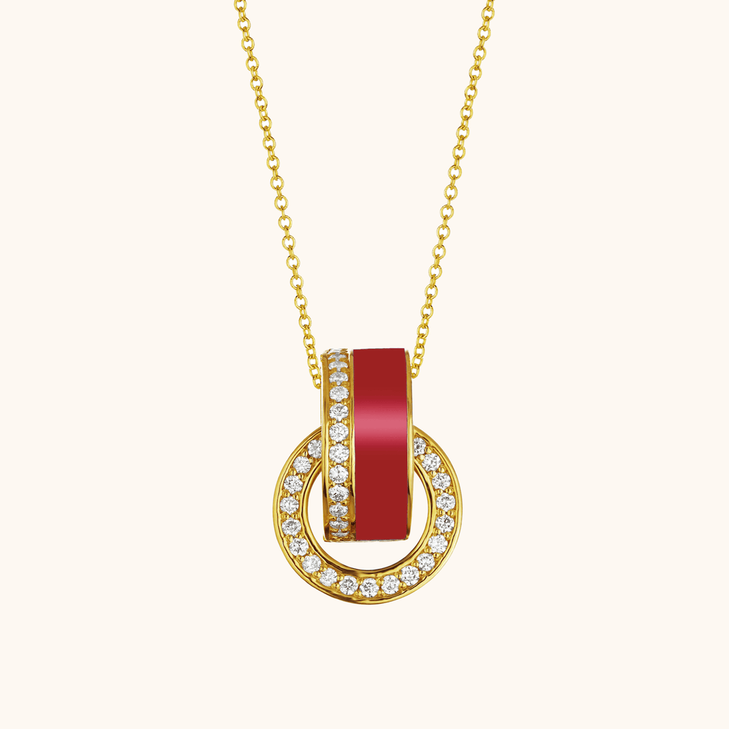 The Essex Necklace in Scarlet Red, Yellow Gold