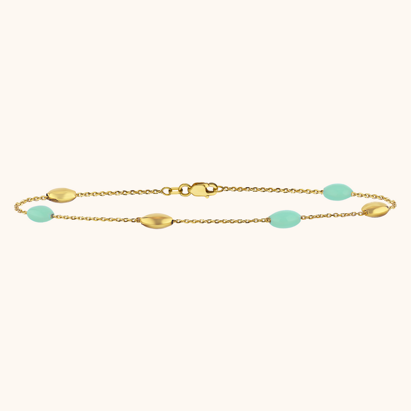 The Hampton Anklet in Aqua, Yellow Gold