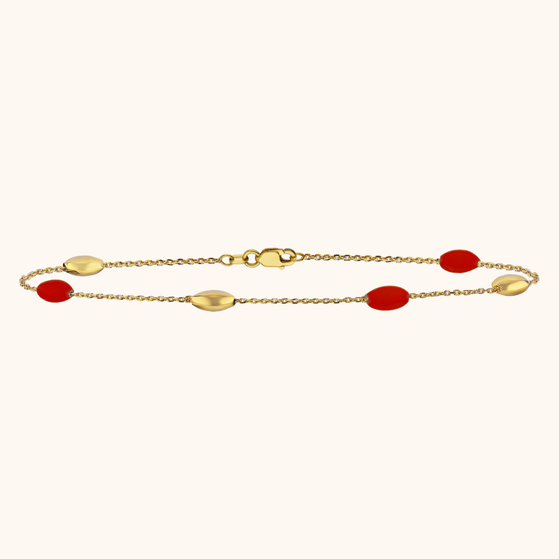 The Hampton Anklet in Scarlet Red, Yellow Gold