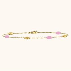 The Hampton Bracelet in Baby Pink, Yellow Gold