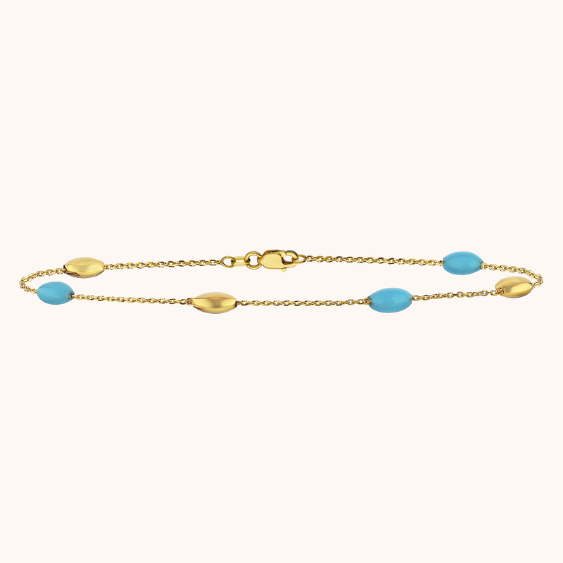 The Hampton Anklet in Capri Blue, Yellow Gold