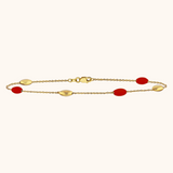The Hampton Bracelet in Scarlet Red, Yellow Gold