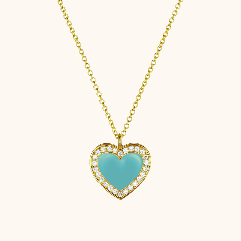 The Jane Necklace in Aqua, Yellow Gold