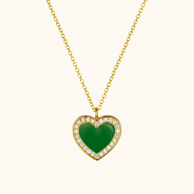 The Jane Necklace in Emerald Green, Yellow Gold