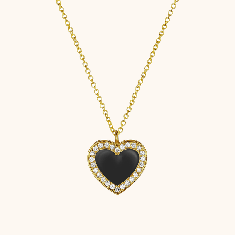The Jane Necklace in Midnight Black, Yellow Gold