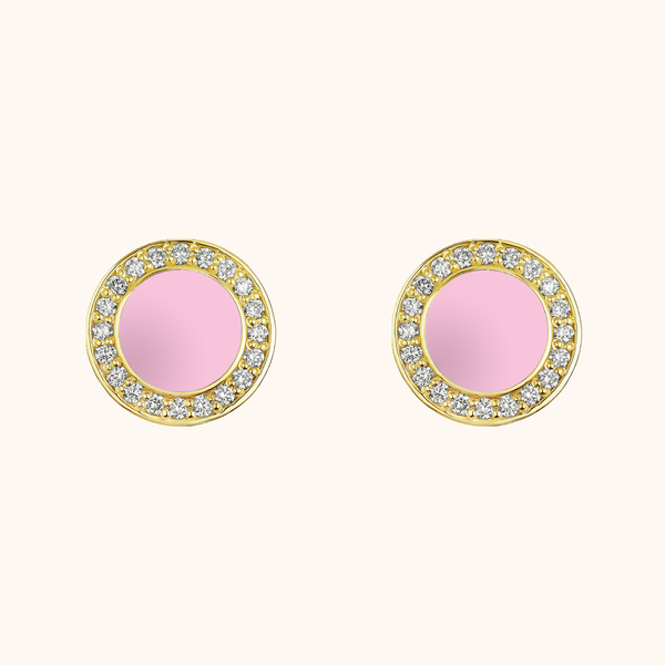 The Lafayette Earrings in Baby Pink, Yellow Gold