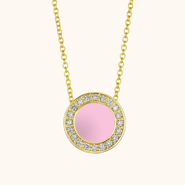 The Lafayette Necklace in Baby Pink, Yellow Gold
