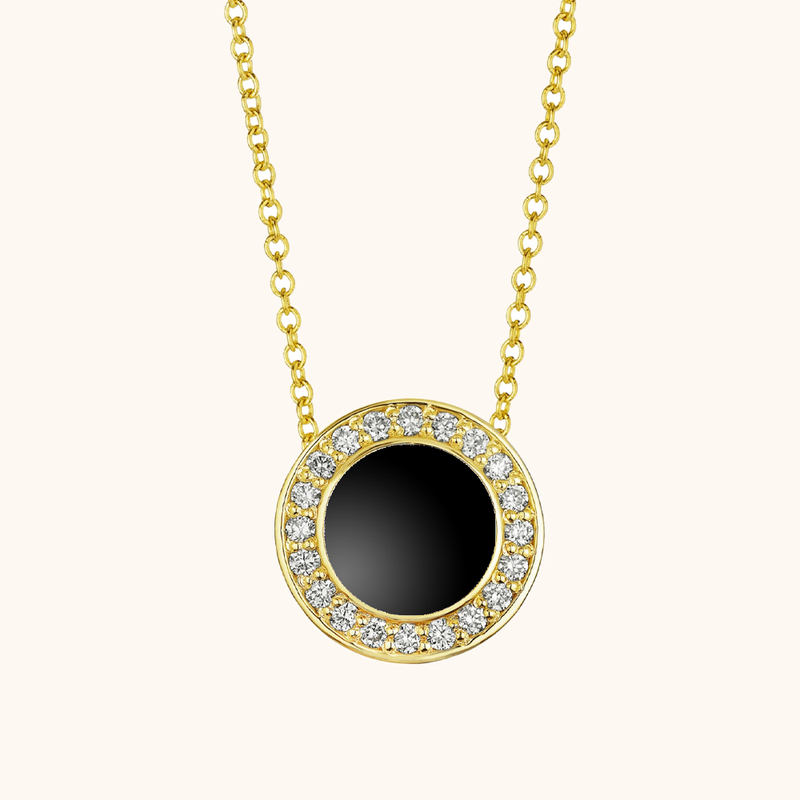 The Lafayette Necklace in Midnight Black, Yellow Gold