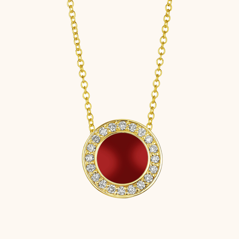 The Lafayette Necklace in Scarlet Red, Yellow Gold