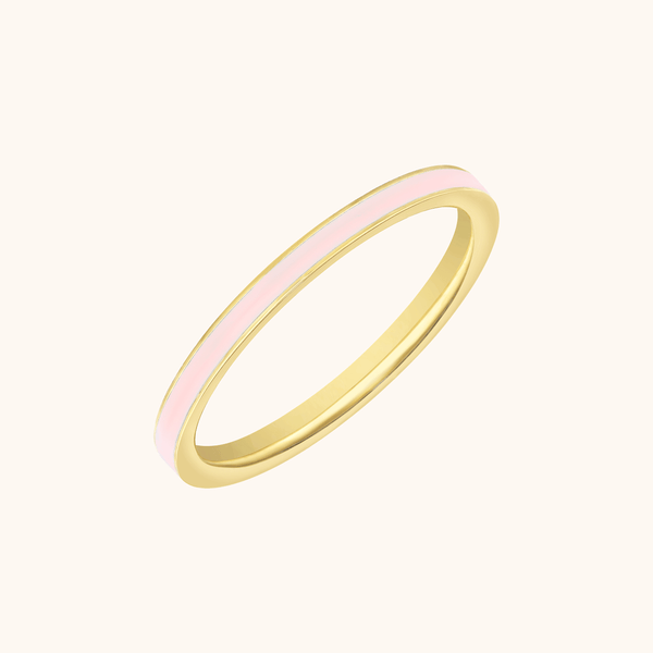 The Manhattan Band in Blush Pink, Yellow Gold