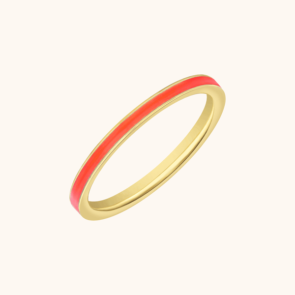 The Manhattan Band in Coral, Yellow Gold