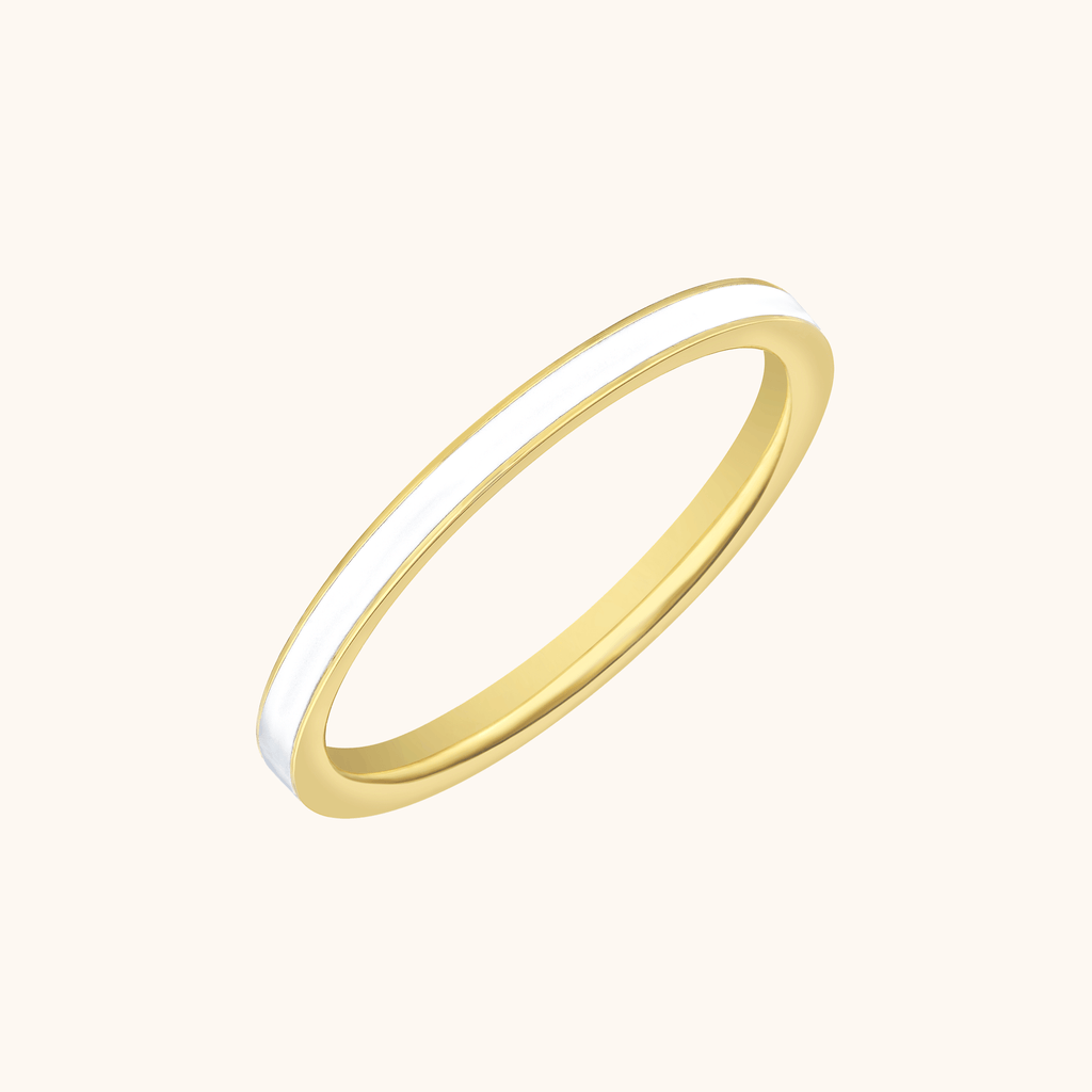 The Manhattan Band in Ivory White, Yellow Gold