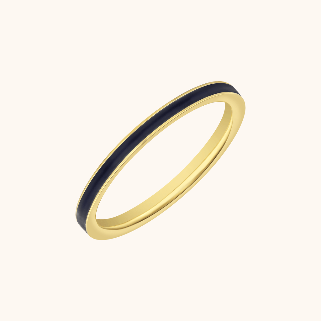 The Manhattan Band in Midnight Black, Yellow Gold