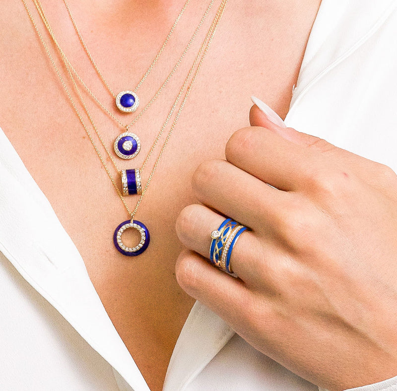 The Queen Band in Royal Blue, Yellow Gold In Stacker Band Set On Model
