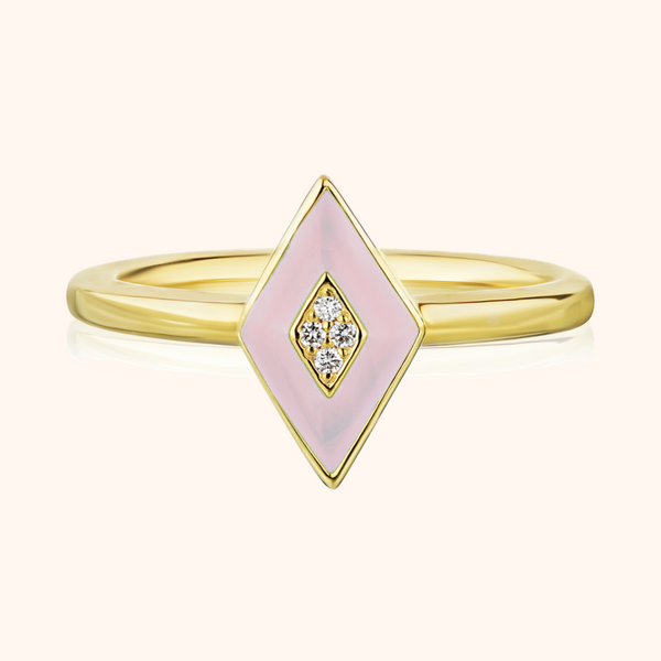 The Mercer Band in Blush Pink, Yellow Gold