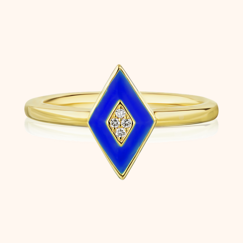 The Mercer Band in Royal Blue, Yellow Gold